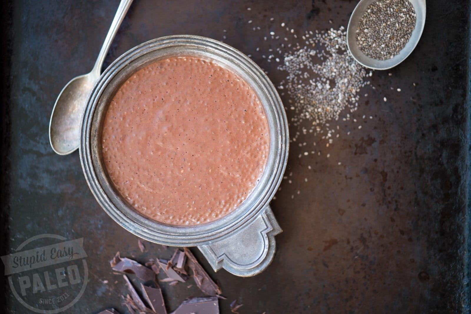 Dark Chocolate Coconut Chia Pudding | StupidEasyPaleo.com