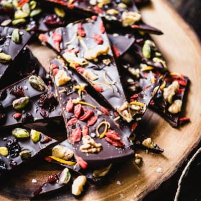 Dark Chocolate Bark with Dried Fruit is the perfect simple recipe for DIY paleo holiday gift giving. Create your own delicious flavor combos! | StephGaudreau.com