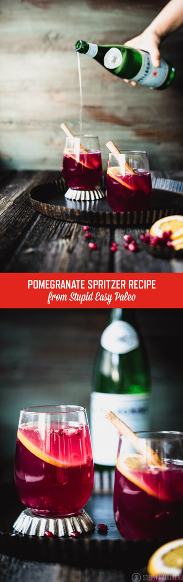 """data-pin-description=""""This Pomegranate Spritzer is the perfect way to celebrate the holiday. Warm spice-infused pomegranate juice is topped with sparkling water. 