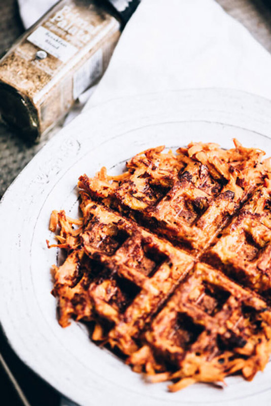 Sweet Potato Waffles are so much healthier than their typical gluten-free counterparts. This recipe has just two main ingredients. So easy! | StupidEasyPaleo.com