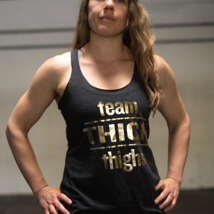 Team Thick Thighs tank tops in charcoal with gold foil print