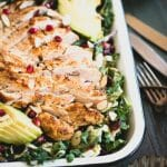 Make this Market Salad with Lemon Chicken recipe for a super-tasty lunch. Features juicy chicken, healthy greens, and crunchy toppings. | StupidEasyPaleo.com