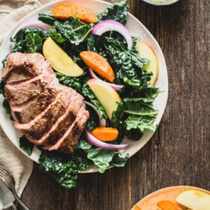 This Green Goddess Steak Salad with Kale Recipe is bursting with flavor. Find out how to make it even easier than you'd think. | StupidEasyPaleo.com