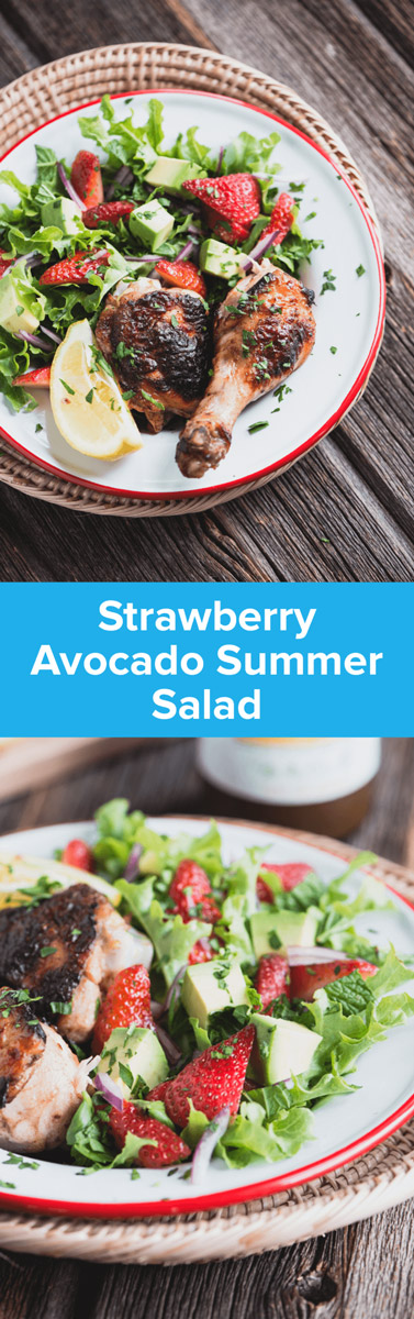 This Strawberry Avocado Summer Salad Recipe is the perfect take-along dish for a picnic, BBQ, or warm-weather gathering. It's delicious! | StupidEasyPaleo.com