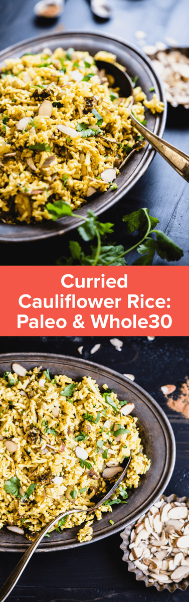 Delicious grain-free Curried Cauliflower Rice is packed with warm spices, crunchy almonds, & sweet raisins. It's 100% grain-free and delish! | StupidEasyPaleo.com