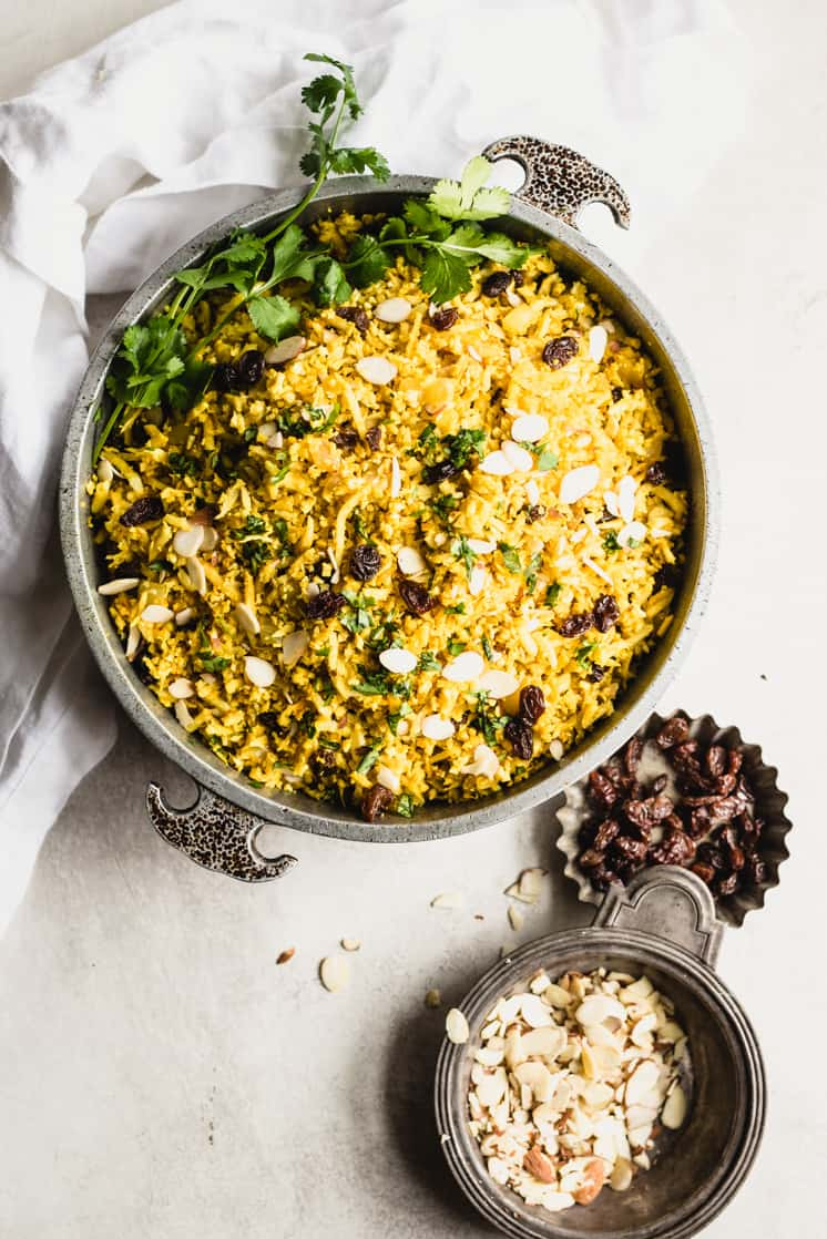 metal bowl with curry cauliflower rice