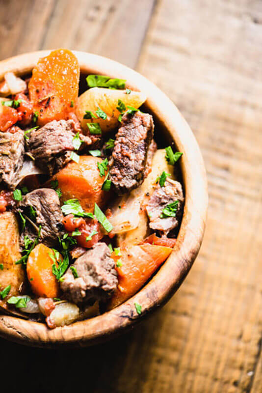 beef stew with chunky carrots and parsnips