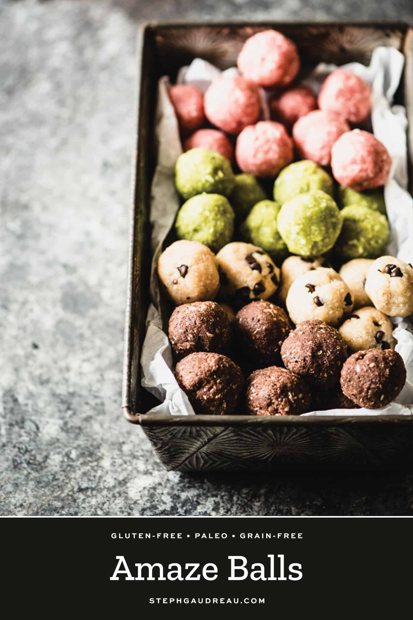 gluten-free amaze balls in pink, green, chocolate chip and chocolate