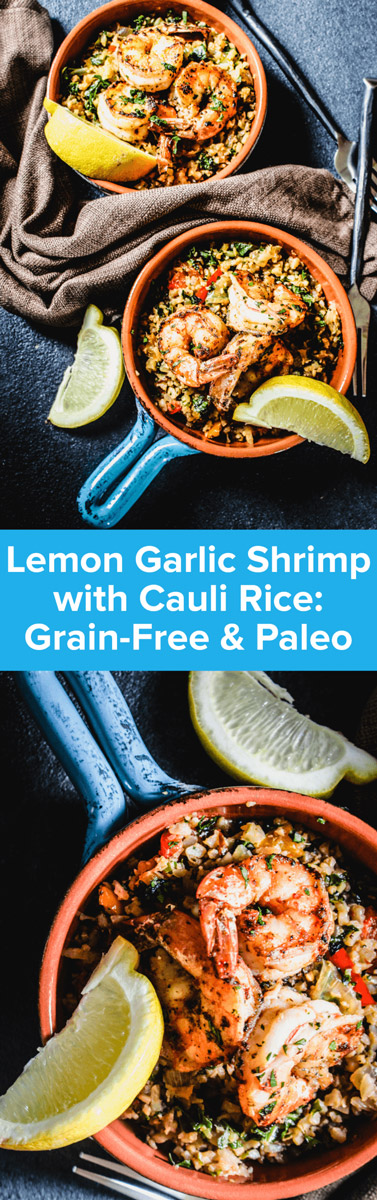 This super scrumptious Lemon Garlic Shrimp with Cauliflower Rice recipe is a perfect gluten-free weeknight dinner that's big on flavor! | StupidEasyPaleo.com