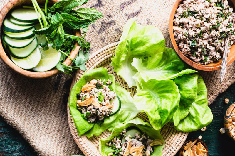 These Thai Larb with Pork wraps are a fresh, delicious, gluten-free meal that's super healthy and easy to put together. Make them today! | StupidEasyPaleo.com