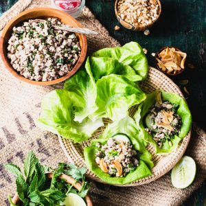 Thai Larb with Pork wraps are a fresh, delicious, gluten-free meal that's super healthy and easy to put together. Make them today! | StupidEasyPaleo.com