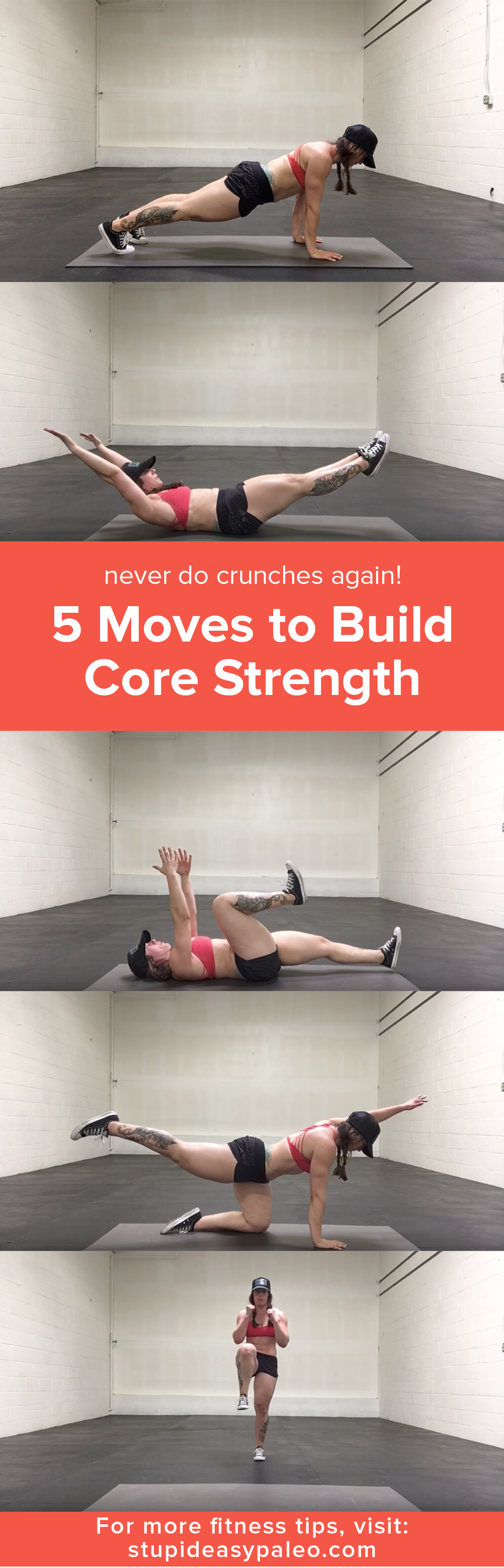 These 5 moves build core strength fast without painful crunches or sit-ups...best part is you can do these at home in just minutes a day! | StupidEasyPaleo.com
