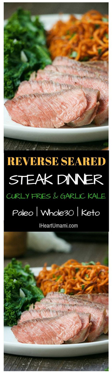 Paleo Reverse Seared Steak Dinner is so simple and ticks all the boxes with juicy steak, crispy sweet potatoes fries, and garlicky kale.   StupidEasyPaleo.com