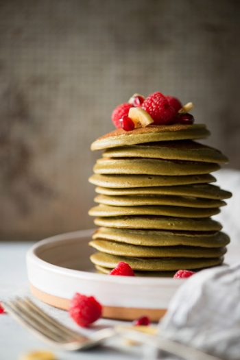 Matcha Banana Pancakes are gluten-free and paleo, plus they're only four ingredients and contain a superfood boost of antioxidants! | StupidEasyPaleo.com