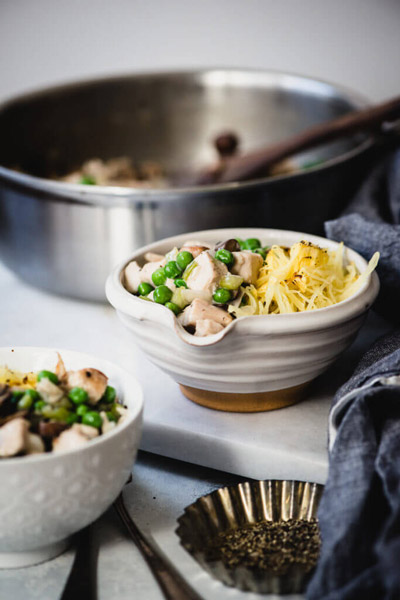 Paleo Turkey Tetrazzini is a delicious & healthy way to use up those holiday turkey leftovers! Dairy-free, gluten-free & Whole30 friendly. | StupidEasyPaleo.com
