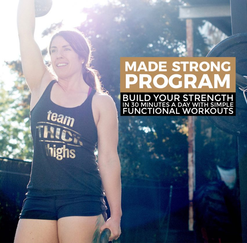 woman holding a kettlebell overhead with made strong title