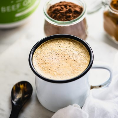 My dairy-free Kicked Up Hot Chocolate is packed with superfood ingredients like gelatin, cacao, and turmeric. Healthy, tasty & paleo...win!   StupidEasyPaleo.com