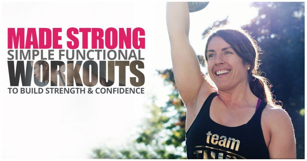 Woman holding a kettlebell overhead for the Made Strong program