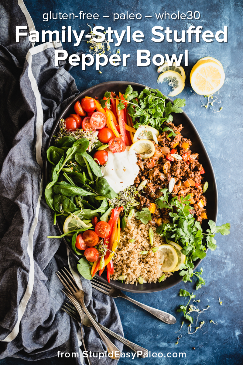 This family-style Deconstructed Stuffed Bell Pepper Bowl is the perfect healthy, tasty, and gluten-free / paleo dish for a busy weeknight dinner. It's bursting with flavor and freshness, plus it's ready in under 30 minutes. #glutenfree #paleo #whole30 #whole30recipes