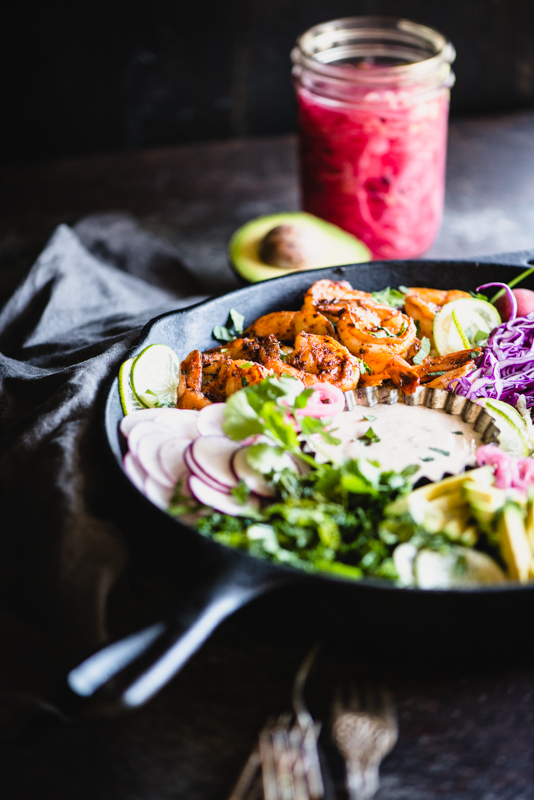 Paleo Shrimp Taco Bowls with Cilantro Lime Cauliflower Rice | StupidEasyPaleo.com