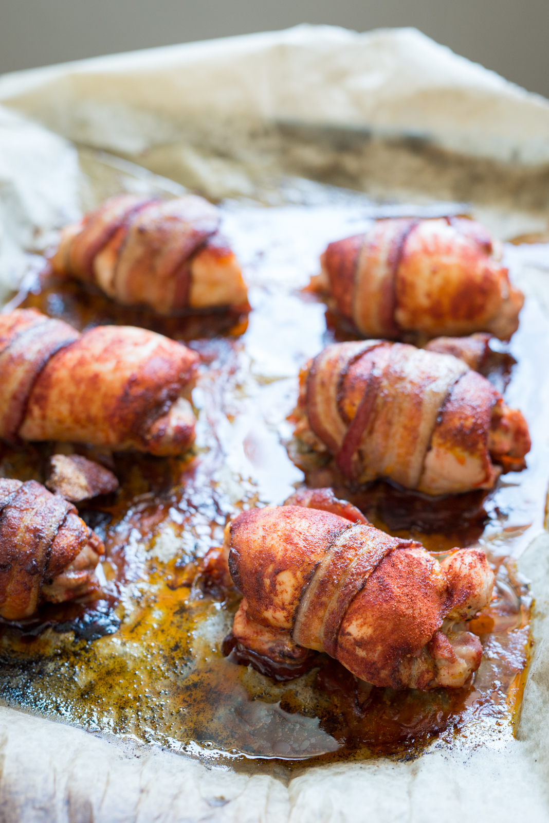 Smoky Bacon Wrapped Chicken Thighs | StupidEasyPaleo.com