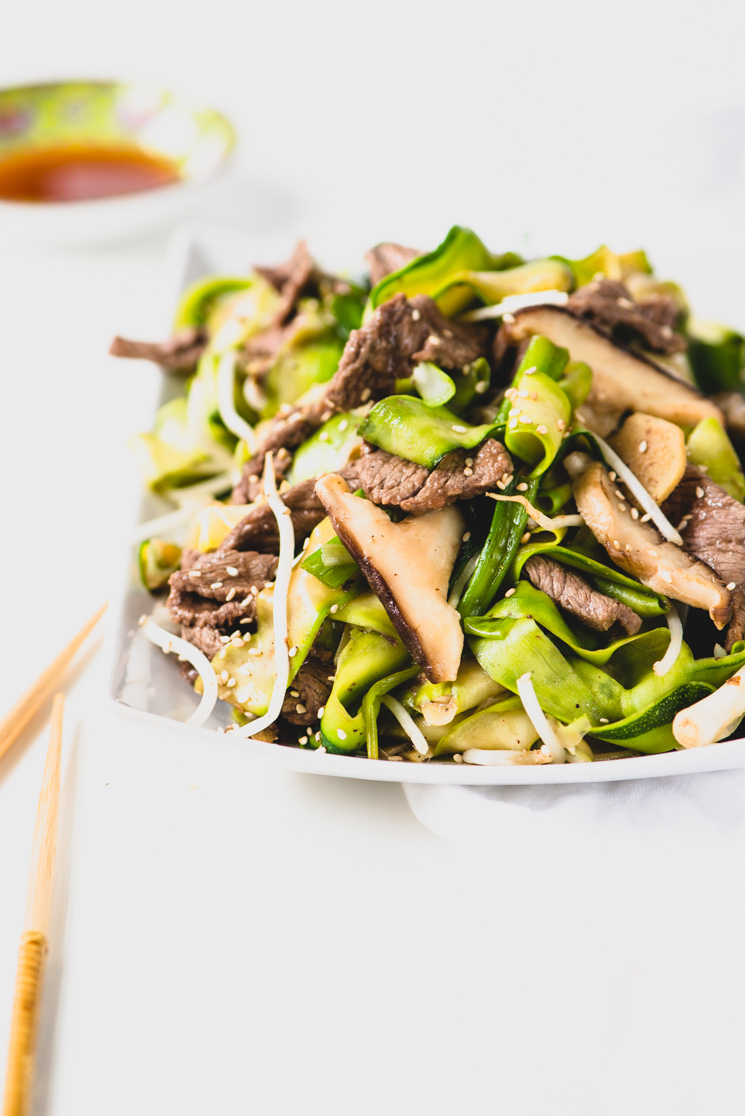 A plate of Beef Chow Fun   recipe from StupidEasyPaleo.com