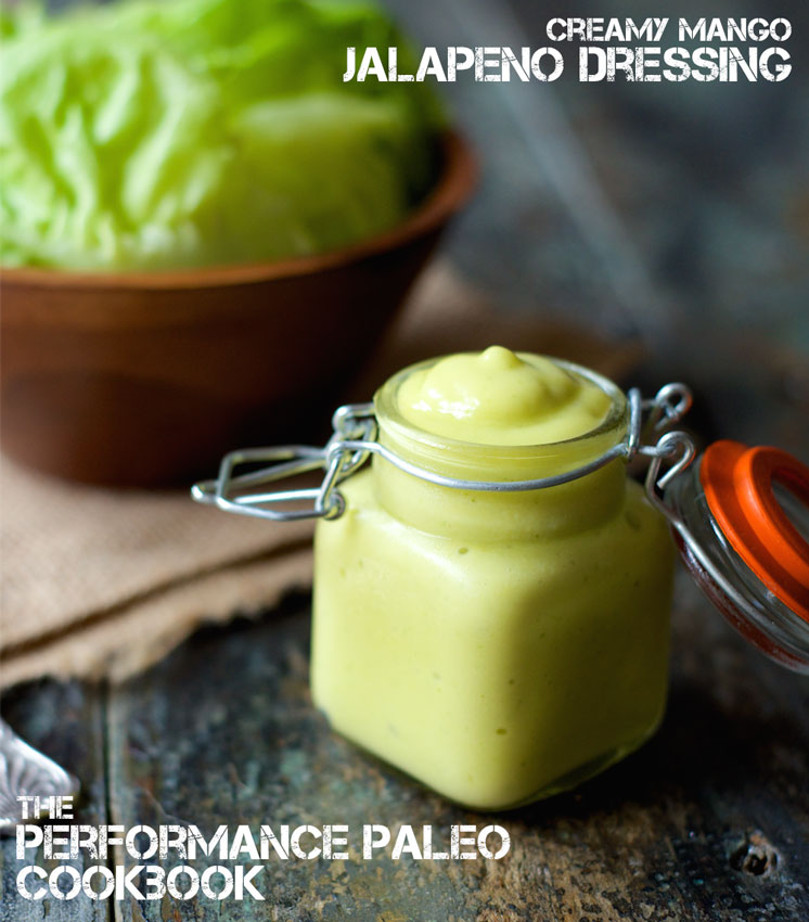 A delicious Paleo Mango Jalapeño Dressing Recipe, perfect for topping your favorite greens, fish tacos or even as a dip for chicken! | StupidEasyPaleo.com