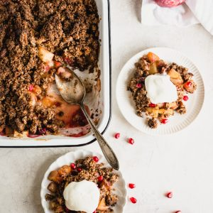 Gluten-Free Apple Crisp is an absolutely delicious treat that's perfect for fall. Make it with apples, pears, and cranberries for Thanksgiving dessert. | StephGaudreau.com