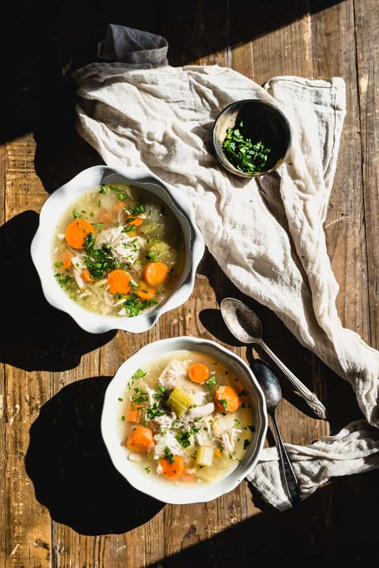 My Instant Pot Chicken Soup is ready in just 30 minutes. It's a delicious and nutritious soup made in a fraction of the time. Learn how simple it is! | StephGaudreau.com