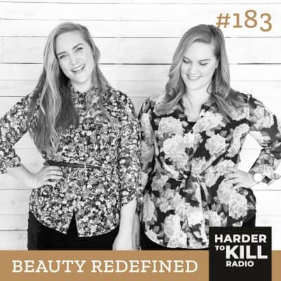 Black and white show art of podcast guests Beauty Redefined, twin sisters with long blonde hair