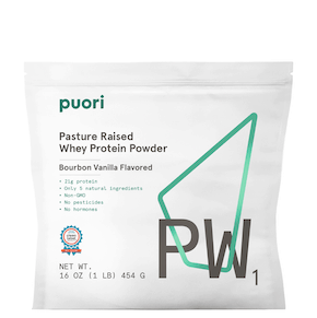 large white bag with white label that reads pasture raised whey protein powder
