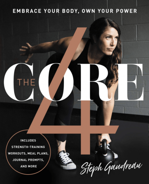 cover of the core 4 book with a woman with brown hair and kettlebell