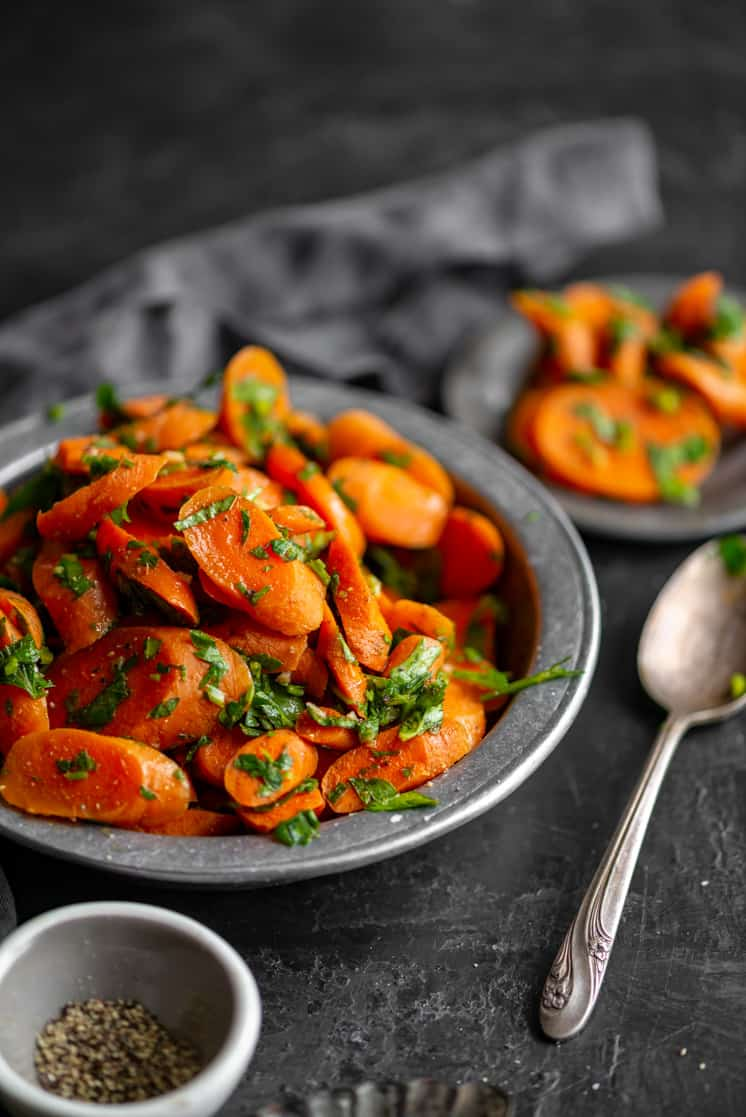sliced moroccan carrot salad with parsley and spices