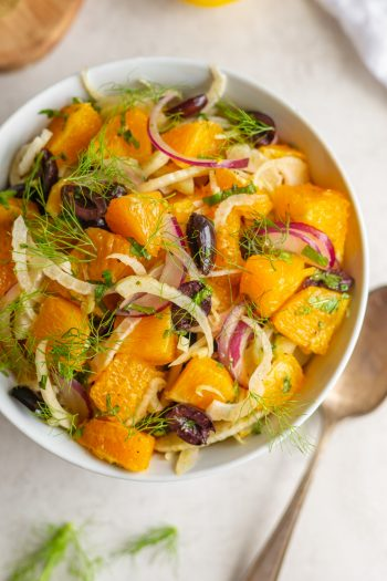 orange salad with mint olives fennel and red onion