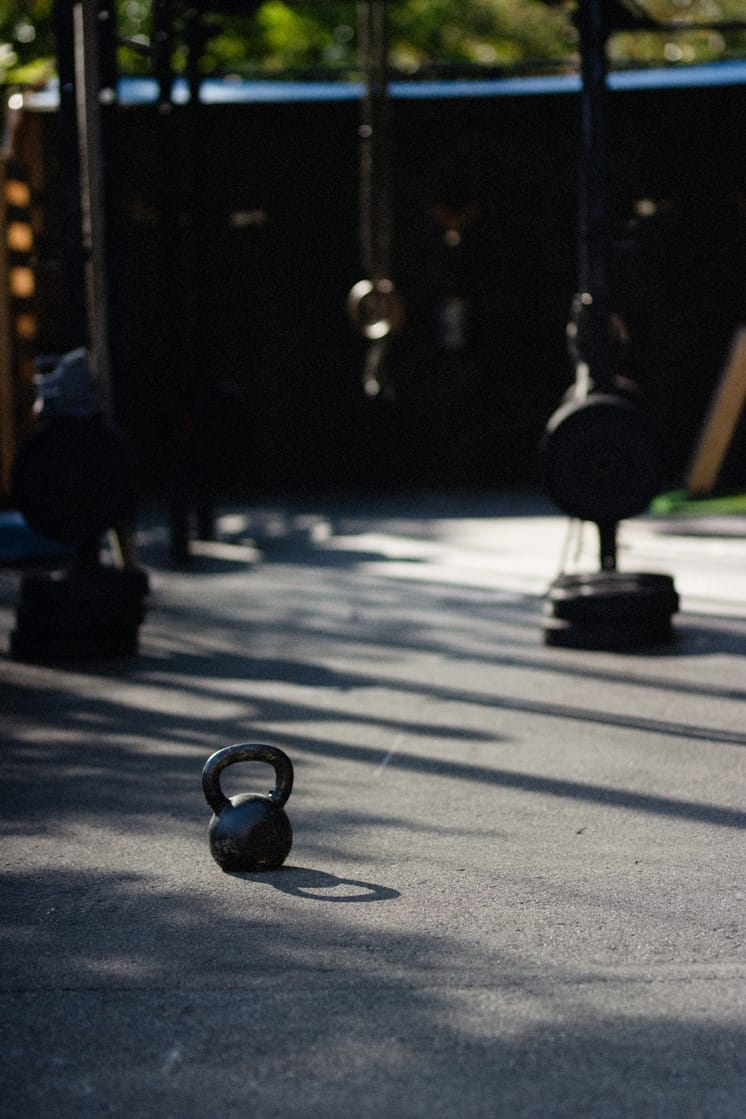 kettlebell outside on the pavement