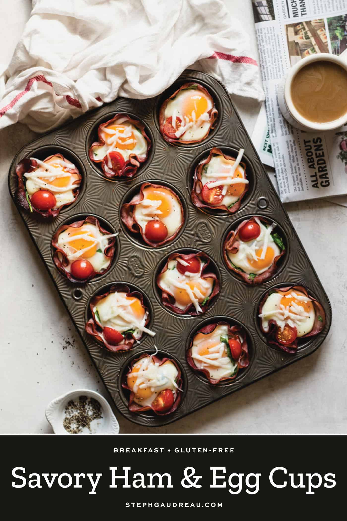 ham and eggs in a muffin tin on a white table with coffee