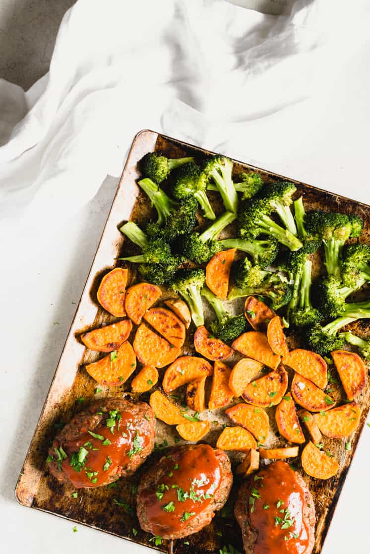 sheet pan dinner with meatloaf potatoes and broccoli