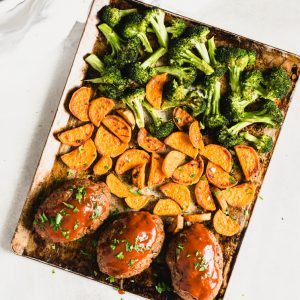 mini meatloaf sheet pan dinner with sweet potato and broccoli