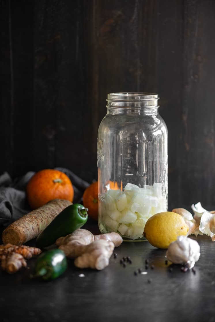 chopped onions added to the mason jar