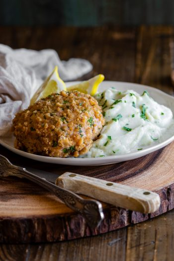 gluten-free pork schnitzel patty with mashed cauliflower