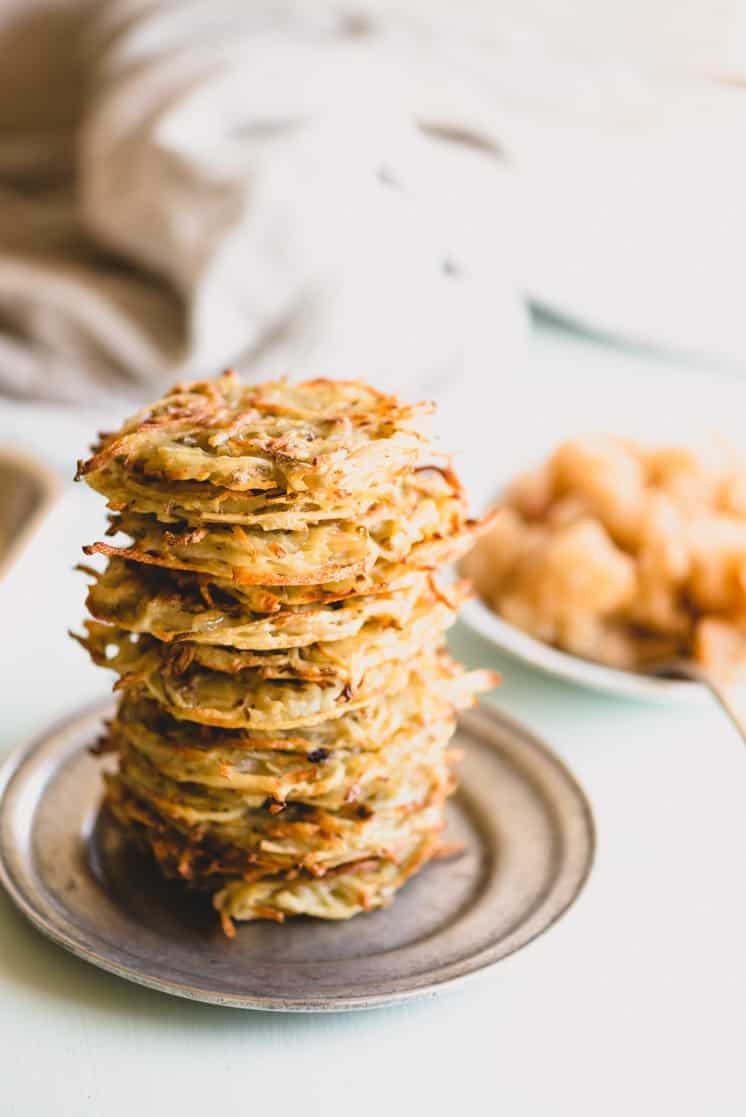 stack of oven-baked potato latkes
