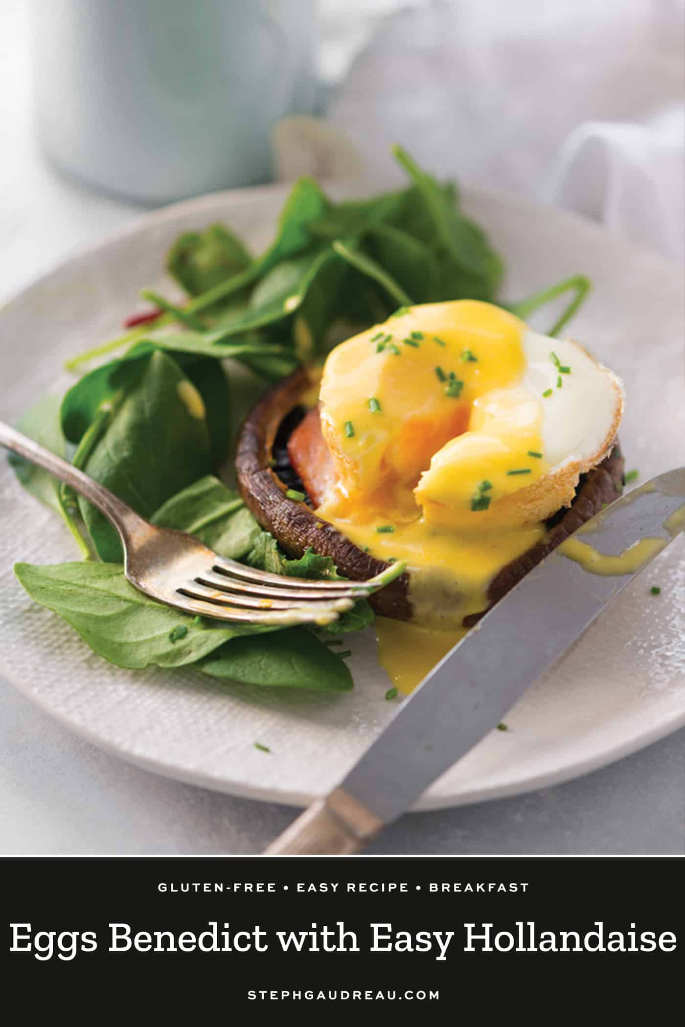 gluten free eggs benedict on a mushroom cap drizzled with hollandaise sauce