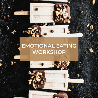 popsicles on dark background with emotional eating workshop text