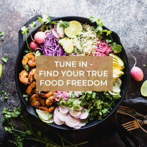 tune in food freedom text over cast iron skillet with shrimp and vegetables